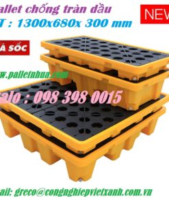 Pallet chống tràn dầu 2 phuy, 4 phuy