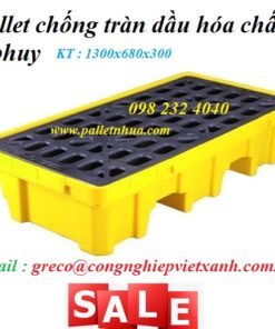 Pallet chống tràn dầu hóa chất loại 2 thùng phi